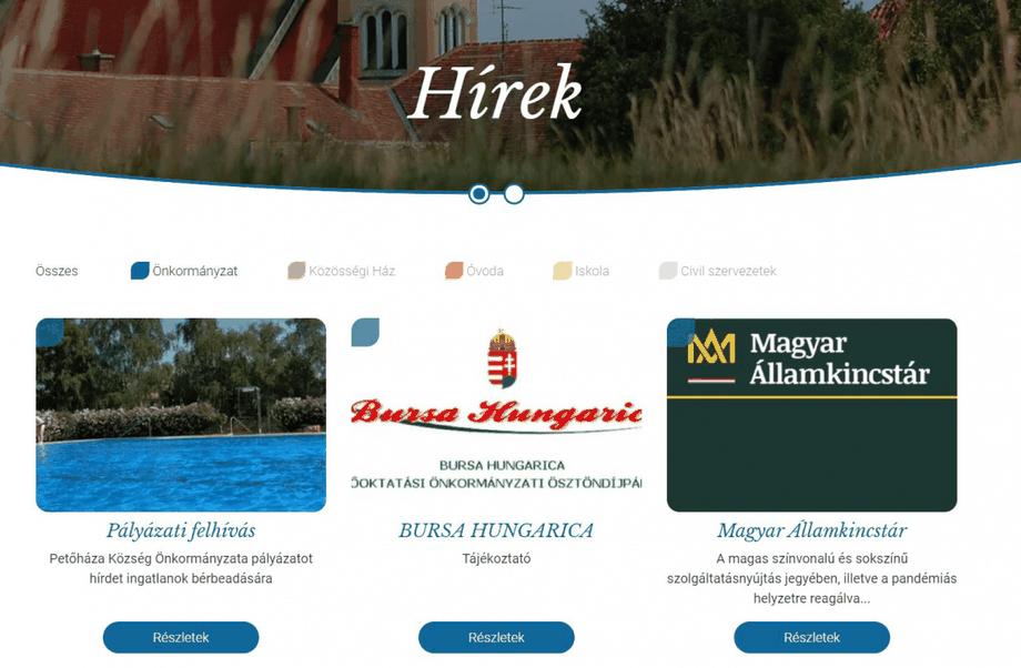 Petőháza közés honlapján láthatóan folyamatosan közzéteszik az aktualitásokat