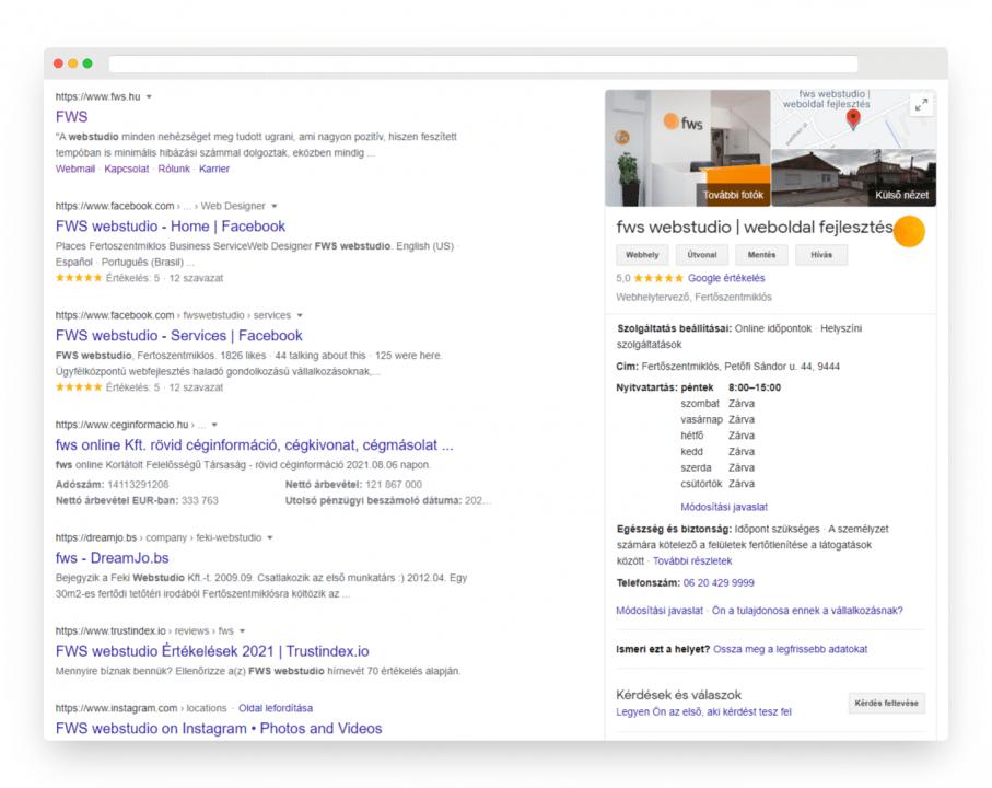 Láthatod, hogy az fws-re való keresés is felhoz a találati lista mellett egy téglalapot rengeteg hasznos információval