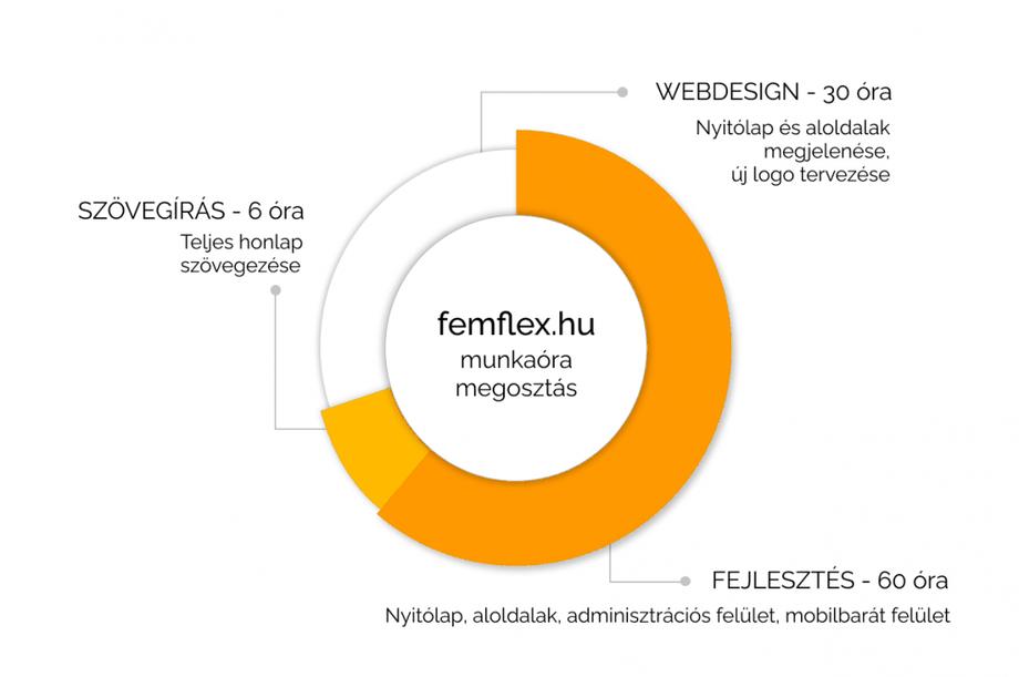 A Fém-Flex egyedi weboldalára fordított munkaórák megoszlása