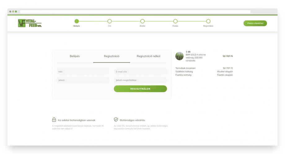 Partnerünk a Vital-Feed Kft. webáruházában a checkout könnyen áttekinthető és kialakításában támogatja a vásárlási folyamatot.