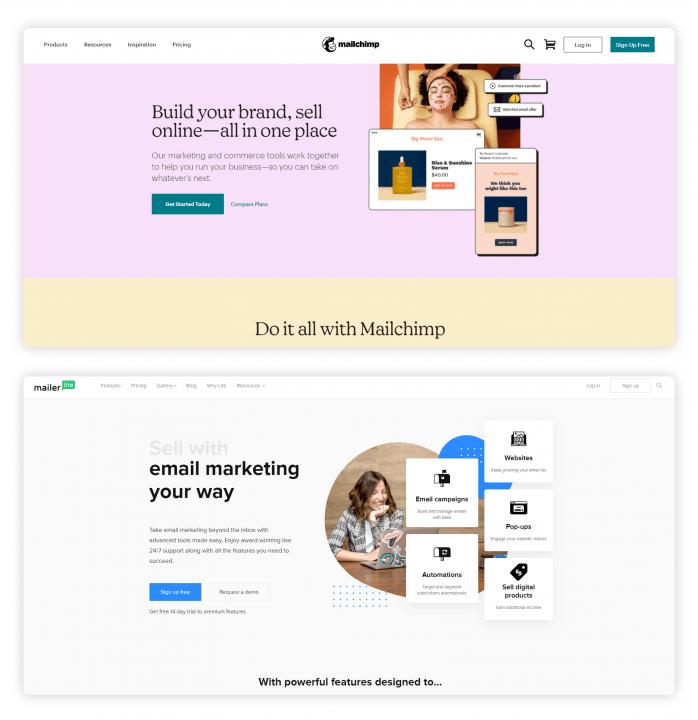A Mailchimp és a MailerLite kezdőlapját láthatod a képeken