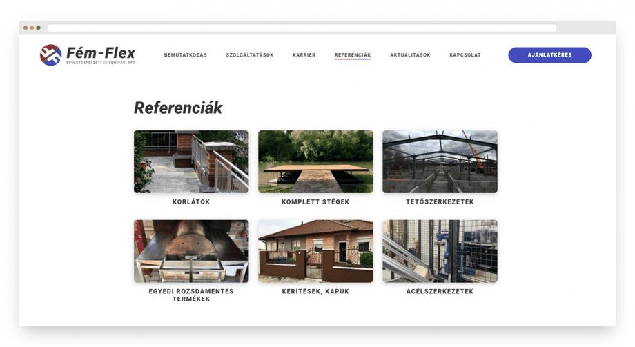 Ügyfelünk, a Fém-Flex Kft. referenciaoldala. A képre való kattintással nézd csak meg az egész weblapot!