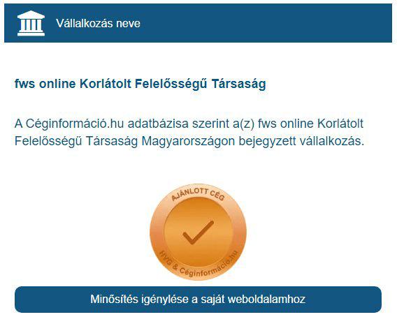 Webfejlesztő vállalkozásunk is megkapta a Céginformáció bronz tanúsítványát