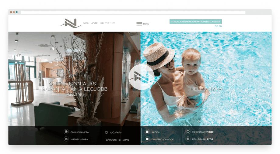Ügyfelünk, a Hotel Nautis weboldala, amelyet megtekinthetsz a képre való kattintással