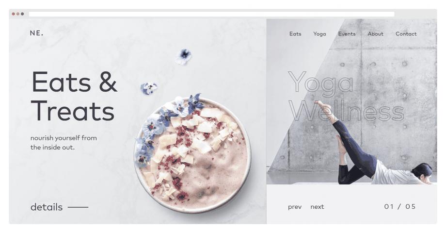Ezen az oldalon az összes felsorolt elem nagyon jól alkalmazásra került: halvány, természetes színek, szimpla betűtípus és letisztult arculat, ami tükrözi a honlap célját. Ha a képre kattintasz, megnézheted az egész weboldalt.