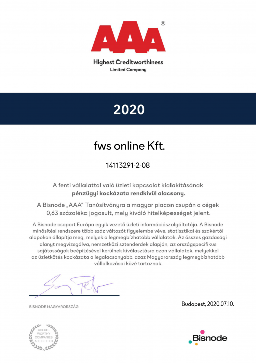 Webfejlesztő csapatunk 2020-ban megkapta a Bisnode AAA tanúsítványát